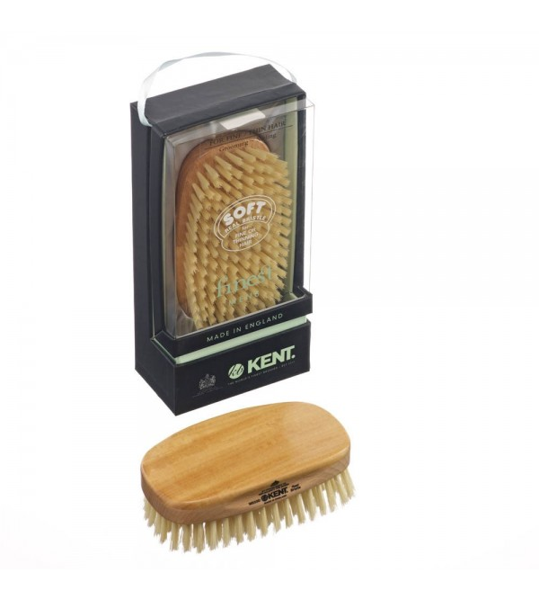 Kent Rectangular Satin & Beech Wood Pure Soft White Bristle - MS23D